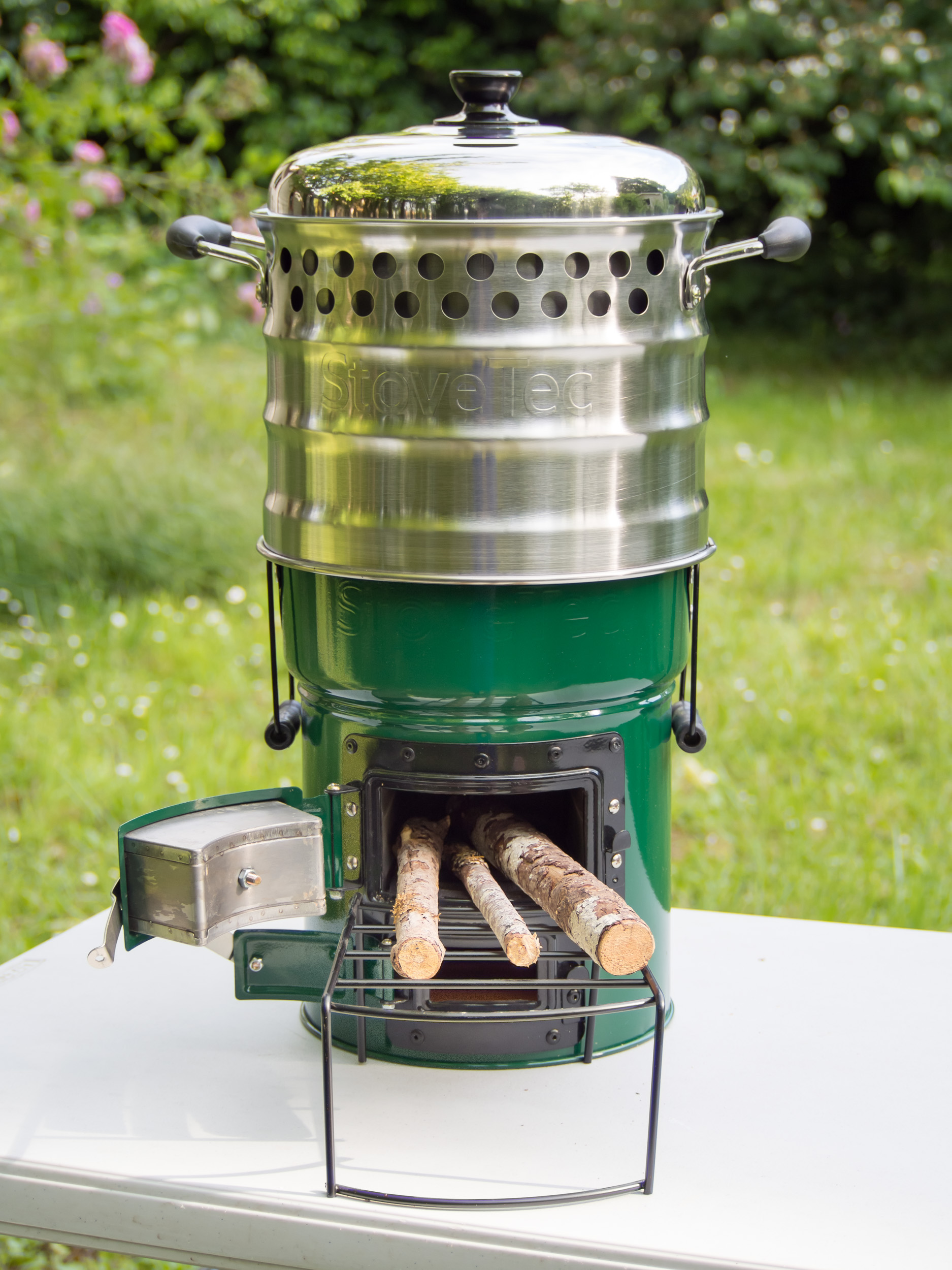 Super pot on top of Big Foot Biomass Stove
